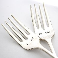$25 I do and Me Too forks. Hand stamped wedding forks for wedding gift, engagement gift. Housewares, boho home decor