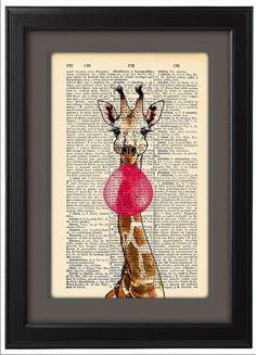 Happy Giraffes and Bubblegum pop, Funny poster,  Dictionary Print  poster, Happy Giraffe Gift poster, Dorm College Home Wall decor, CODE/147