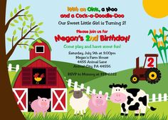 Custom Personalized Fun Barnyard Farm Birthday Party or Baby Shower Thank You (Matching Invitation and Favor Tags Available) - Digital Print. $8.99, via Etsy.