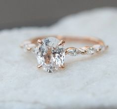 Rose Gold Morganite Engagement Ring Set Unique Rose Gold Morganite Ring with Matching Band Diamond Engagement Rings - Fine Jewelry Ideas Wedding Ring Gold, Wedding Rings Simple, Wedding Rings Vintage, Bridal Rings, Diamond Wedding Bands, Unique Rings, Wedding Jewelry, Diamond Rings, Solitaire Diamond