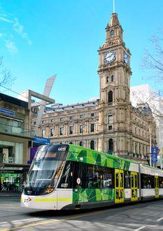 'Tram, Bourke Street'. Cnr Elizabeth and Bourke Streets, Melbourne. © G.C. Campbell.