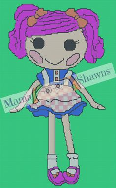 Pink Lalaloopsy Inspired, Graphghan, Written Pattern, Crochet Pattern, Word Chart by MamaShawns on Etsy
