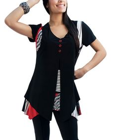 Take a look at this Red & Black Patchwork Tunic - Women & Plus by Fashque on #zulily today! $35 !!