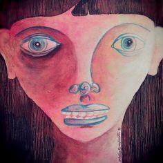 Acrylic on wood portrait by Ghalia Barghouthi
