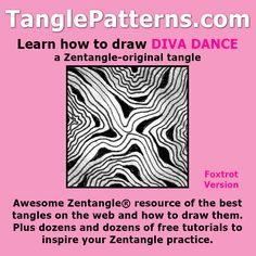 Step-by-step instructions to learn how to draw the Zentangle-original tangle pattern: Diva Dance - Foxtrot Version