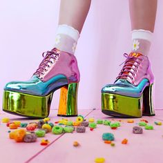 Discover recipes, home ideas, style inspiration and other ideas to try. Crazy Shoes, Me Too Shoes, Japanese Street Fashion, Mode Vintage, Glam Rock, Platform Boots, Sock Shoes, Fashion Shoes, Cool Outfits