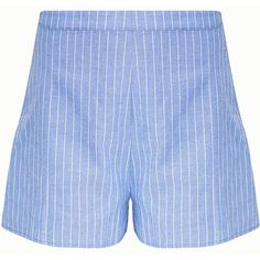 Blue Pinstripe Shorts (333.325 IDR) ❤ liked on Polyvore featuring shorts, blue shorts and pinstripe shorts