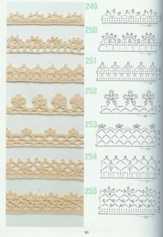 crochet edging patterns from a japanese crochet magazine free crochet edging patterns (more where these are! 27 marvelous photo of crochet edging patterns ISSUU - 262 Patrones de crochet by Darling Gabella using 251 for moms blanket crochet borders - the Crochet Edging Patterns Free, Crochet Lace Edging, Crochet Borders, Crochet Diagram, Crochet Chart, Thread Crochet, Crochet Trim, Diy Crochet, Crochet Flowers