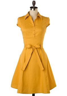 Soda Fountain Dress in Ginger - Yellow, Solid, Work, Casual, Vintage Inspired, 50s, Shirt Dress, Summer, A-line, Cap Sleeves, Rockabilly, 60s, Show On Featured Sale, Pinup, Mid-length, Fit & Flare, Belted, Best Seller, Button Down, Collared, Cotton, Daytime Party