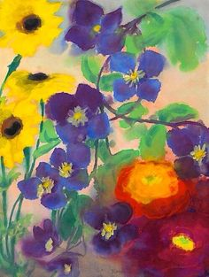 Emil Nolde is known for Expressionist painting, printmaking. Emil Nolde, Edvard Munch, Art Floral, Art Moderne, Paul Gauguin, Watercolor Flowers, Flower Art, Life Flower, Modern Art