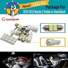 Cawanerl Car 5630 SMD Interior LED Bulb LED Kit White License Plate Map Dome Light For Mazda 3 Sedan Or Hatchback 2010 2011 2012