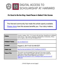 It's Good to Be the King: Head-Pieces in Ballard Folio Scores from Harvard University's DASH repository Grey Literature, Harvard University, Head Pieces, Your Story, Scores, King, How To Plan, Quotes