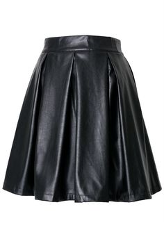 Faux Leather Pleated Skirt in Black   #Chicwish