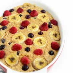 Banana Berry Baked Oatmeal in a white baking pan.