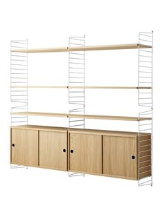 Buystring Shelving Unit with Double Cabinet and Wall Fastened Side Racks, Oak/White Online at johnlewis.com