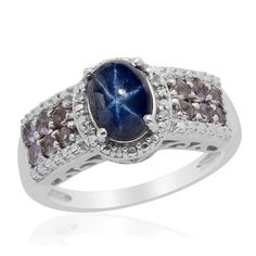 Liquidation Channel: Thai Blue Star Sapphire Diffused, Iolite, and Diamond Ring in Platinum Overlay Sterling Silver (Nickel Free)