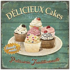 Délicieux cakes Posteres por Bruno Pozzo na AllPosters.pt