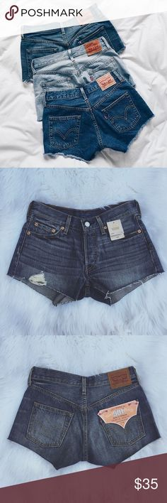 •Levi's 501 Denim Cut-Off Shorts• NWT dark blue cut off Levi's denim shorts.    •size: 24 waist  •color/print: dark blue denim •cut off denim Levi's  •new with tags  •cover photo found via Pinterest  Approx Measurements (laying flat):     •waist: 13.5in     •inseam: 2in     •rise: 7in  •No trades(comments will politely be ignored). •15% off 2+ items 💕 Levi's Shorts Jean Shorts