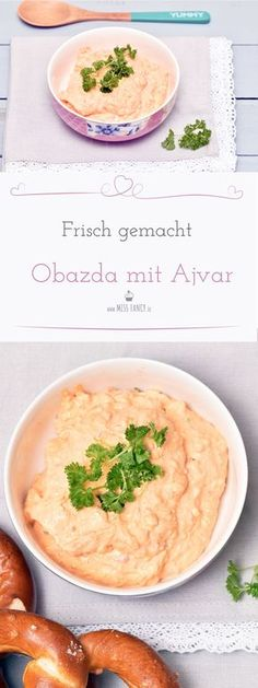 Die nächste Party wird geplant oder einfach nur mal so für auf´s Brot oder zum Dippen – Obazda schmeckt immer herrlich, ganz besonders mit Ajvar und Knoblauch. #Obazda #Thermomix #Dip