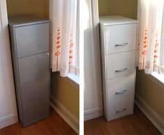 How to re-paint a metal filing cabinet. Could be done in really bright colours. Might look better to also re-paint the handles (take them off & do them separately to avoid drips.)