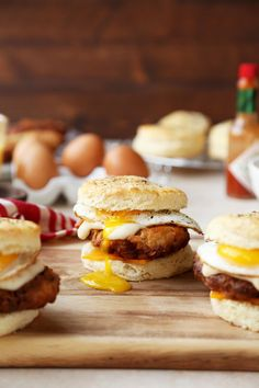 Country Breakfast Sandwiches are everything you'd find in a country breakfast plate rolled into an easy package. Biscuits filled with sausage, egg & cheese! Breakfast Platter, Breakfast Sandwiches, Brunch Recipes, Breakfast Recipes, Breakfast Ideas, Breakfast Time, Savory Breakfast, Yummy Recipes, Turkey Breakfast Sausage
