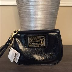 Selling this  Coach Black Patent Leather Poppy Wristlet in my Poshmark closet! My username is: saccardi. #shopmycloset #poshmark #fashion #shopping #style #forsale #Coach #Handbags