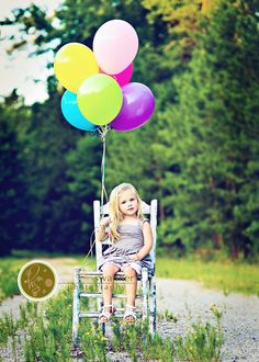Gorgeous colors--love the chair and the balloons! #birthday #photography vintage chairs, 1st birthday pics, kid pics, outdoor kids, 5th birthday, birthday pictures, birthday photos, balloon birthday, children photography