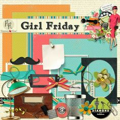 A retro office themed mini freebie kit designed to coordinate with the Girl Friday collection.