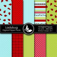 Free Ladybug - 10 Digital papers