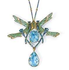 "Lalique 1903 ""Quatre Libel-lules"" Pendant Necklace: gold/ aquamarine/ diamond/ enamel; signed LALIQUE 19.5"""