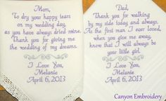Hey, I found this really awesome Etsy listing at http://www.etsy.com/listing/105622050/personalized-wedding-hankies-set-of-two