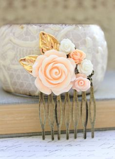 Peach Rose Comb Floral Collage Hair Accessories Shabby Chic Wedding Bridal Pale Peach Rose White Rose Gold Leaf Leaves Winter Holidays on Etsy, $29.00