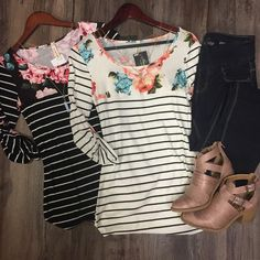 3/4 Sleeve Striped Shirt w/Floral Neck