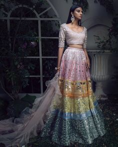 Amour De Junaagarh Collection Multicolour appliqué lehenga with embellished blouse and ruffle dupatta Photography by-… Indian Bridal Outfits, Indian Designer Outfits, Indian Dresses, Bridal Dresses, Designer Dresses, Girls Dresses, Lehenga Designs, Indian Fashion Trends, Asian Fashion