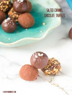 Salted Caramel Chocolate Truffles require minimal effort and can be made with 3 ingredients! They're delicious and sure to impress! #chocolate #truffles #saltedcaramel #candy @flavorthemoments