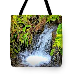 "As The Water Falls Tote Bag 18"" x 18"""