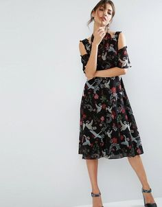 f69020d71f3a ASOS Midi Dress with Cold Shoulder and Lace Detail in Black Swan Print at  asos.com