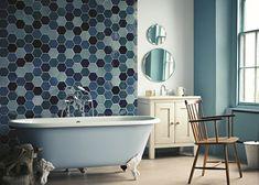 Badezimmer, blau, freistehende Badewanne