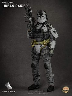 Galac-Tac is a line of stylized armor and helmets that were designed to use during airsoft games. Green Wolf Gear has shrunk the armor down to scale to create the amazingly detailed Urban Raider figure. Galac Tac Armor, Gi Joe, Star Wars Commando, Star Wars Figurines, Tactical Armor, Mandalorian Armor, Futuristic Armour, Military Action Figures, Future Soldier