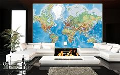 Prepasted Wall Mural Foto Wall Decor, World Map, 82.7 inch- 55.5 inch