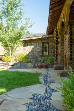 Like the flat rock drainage system Big Creek Lodge | Custom Montana & Wyoming Homes | On Site Management | OSM