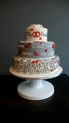 Red and gray cake