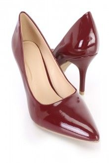 Burgundy Pointed Toe Single Sole Heels Patent Faux Leather