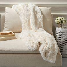 Twos Company Fabulous Faux Fur Arctic Fox Throw
