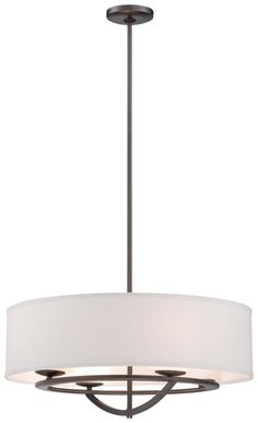 George Kovacs Four Light Pendant from the Circuit Collection in Smoked Iron finish. - From Creative Lighting. Drum Pendant, Pendant Lighting, Light Pendant, Home Lighting, Kitchen Lighting, Room Lights, Ceiling Lights, Fabric Shades, Drum Shade