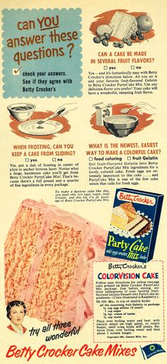 all sizes 1952 food ad betty crocker party cake mix cake questions