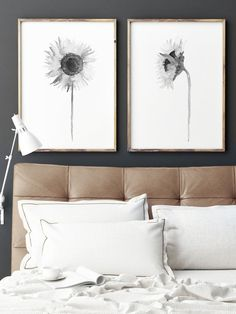 Sunflower set of 2, Black White Floral Illustration, Flower Painting Living Room Wall Decoration, Minimalist Abstract Drawing, Grey Nursery