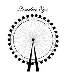 Image of cartoon London Eye silhouette with sign.Vector illustration isolated on white background.
