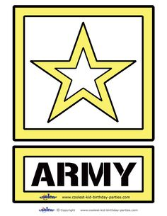 You can use this design in many creative ways. For example, you can print it on colored paper or print on white paper and let your kids color it in, a. Army Party Decorations, Military Decorations, Star Decorations, Party Themes, Spy Party, Military Send Off Party Ideas, Military Retirement Parties, Military Party, Army Birthday Parties
