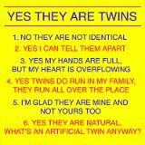 Twins Questions Fraternal Coffee Mug for AUD $21.00  I hear these questions at least 10times a day from strangers! Just say my kids are cute and keep moving :)